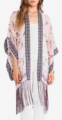 Anna Sui Sparrows Scarf Print Kimono in Mauve Multi