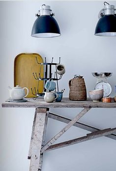 Trestle tables make a great kitchen work bench.