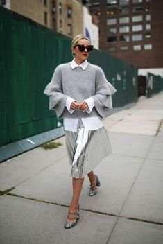 Sweater: all grey everything all grey outfit metallic pleated skirt pleated skirt metallic silver