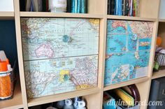 Cover drawers with maps