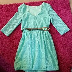 Charlotte Russe dress Knee length mint ish green dress with belt 3/4 sleeves too small for me to model Charlotte Russe Dresses Midi