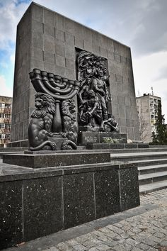 Monument to the Ghetto Heroes next to the Museum of the Polish Jews History, Warsaw, Poland