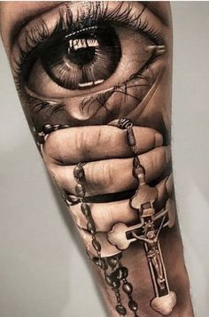 Amazing Douglas Pruente awesome eye cross necklace arm tattoo in ! Detailliertes Tattoo, Faded Tattoo, Forarm Tattoos, Elbow Tattoos, Forearm Sleeve Tattoos, Dope Tattoos, Best Sleeve Tattoos, Badass Tattoos, Tattoo Sleeve Designs
