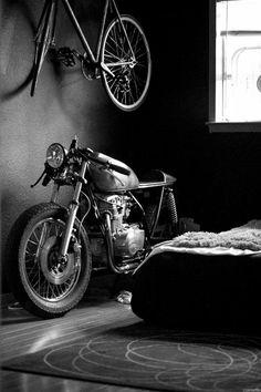 Motorcycle in Bedroom
