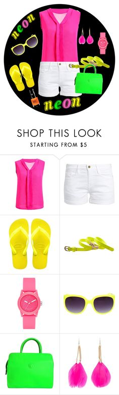 """""""Neon summer"""" by joyfulmum ❤ liked on Polyvore featuring Frame, Havaianas, Scotch & Soda, Skechers, Versace, Forever 21 and Topshop"""
