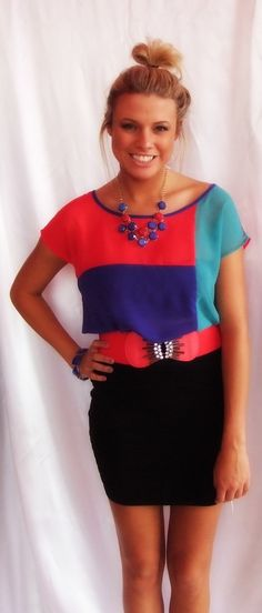 - Sheer Color Block Top: $25.99  - Black Fitted Skirt: $24.99  - Belt: $18.99  - Necklace: $39.99