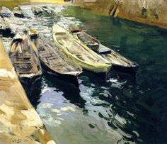 "Joaquin Sorolla ""Fishing Boats, Port of Zarautz"", 1910 (Spain, Impressionism, cent. Spanish Painters, Spanish Artists, Claude Monet, Valencia, Madrid, Boat Painting, Renoir, Beach Scenes, Fishing Boats"