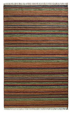 Fairtrade handgeflochtenem Himachal gestreift indischen Kelim Teppich in dunklem Rot, Lila, Grün und Soft Gold Ton, 120x 180cm