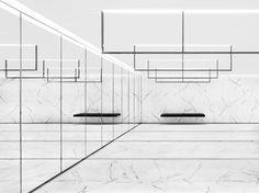 Ysl Store, Paris Store, Saint Laurent Store, Corridor Design, Mirror Room, Hedi Slimane, Wall Finishes, Store Displays, Retail Shop