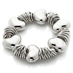 "Stately Steel Puffed ""Heart"" 7"" Stretch Bracelet Hsn Jewelry, Stretch Bracelets, Pandora Charms, Turquoise Bracelet, Steel, Heart, Accessories, Hearts, Iron"