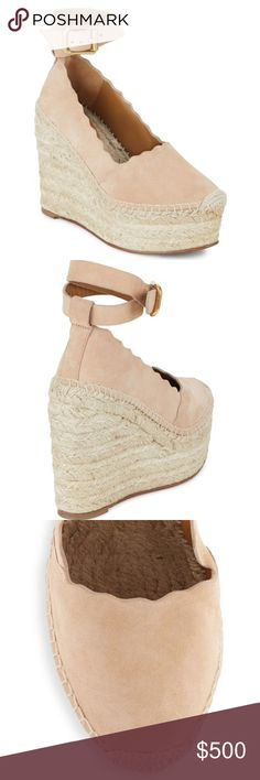 """New Chloe Lauren wedge espadrilles EUR sz 38 Brand new in box Come with dust bag and certificate  100% Authentic!!! EUR size 38 / US 8 Retail $660+ Made in Spain  Details: Shell nude leather, suede and raffia Lauren wedge espadrilles from Chloé featuring an ankle strap with a side buckle fastening, scalloped details, a leather sole, a brand embossed insole, brass hardware, a closed toe, braided jute base and an ecru stitching detail.  Heels: 4.9"""" Platform: 2"""" Suede upper Leather lining…"""