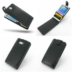 PDair Leather Case for Huawei Ascend Mate - Flip Top Type (Black/Crocodile Pattern)