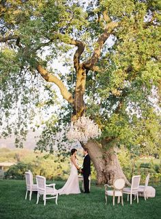 Chandelier wedding ceremony. Image via Found.