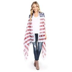 MYS Collection American Stars and Stripes Kimono Vest