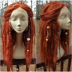 Lace-Front Ginger Synthetic Dreadlock Wig by SisterSarahsShop Red Dreads, Wool Dreads, Dreadlock Wig, Dreadlocks, Sisterlocks, Pelo Rasta, Synthetic Dreads, Dread Hairstyles, Hair Reference