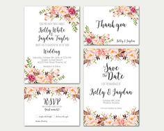 Wedding Invitation Printable, Wedding Invitation Suite, Wedding Invitation Set, Floral Wedding Invitation, Boho Wedding Invitation, Digital by TheSunshineGarden on Etsy https://www.etsy.com/listing/270324716/wedding-invitation-printable-wedding