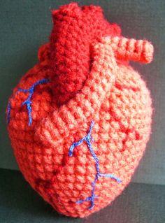 Anatomical Human Heart Crochet Pattern PDF par voodoomaggie sur Etsy I want this. I wish I could crochet! Crochet Art, Cute Crochet, Crochet Animals, Crochet Crafts, Crochet Dolls, Yarn Crafts, Crochet Projects, Amigurumi Patterns, Crochet Patterns