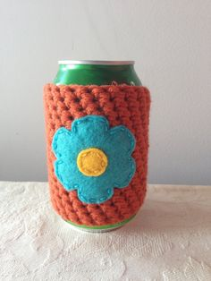 Daisy Flower Crochet Beer Coozie in Pumpkin, Coffee Cup Cozy, Reusable Coffee Cozy, Coffee Sleeve, Can Coozie by Maroozi by Maroozi on Etsy