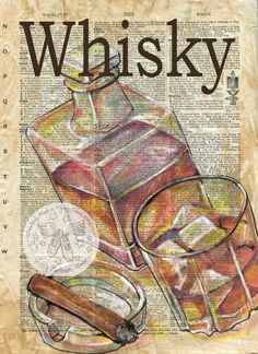Whisky Mixed Media Drawing on Antique Dictionary Page - flying shoes art studio