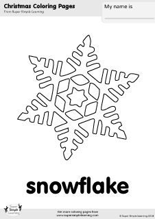 Free snowflake coloring page from Super Simple Learning. Tons of Christmas worksheets, flashcards, and crafts at www.supersimplelearning.com/resource-room. #winter #kindergarten #preK #ESL