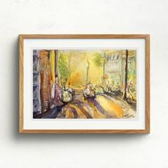 Watercolour painting of a street scene in Amsterdam with bicycles fastened to railings. Railings, Watercolour Painting, Bicycles, Claire, Amsterdam, Original Artwork, Fine Art Prints, Scene, Street