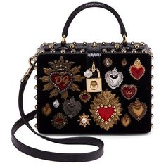 Dolce & Gabbana Heart Clutch found on Polyvore featuring bags, handbags, clutches, square purse, heart purse, embellished purse, hand bags and top handle purse
