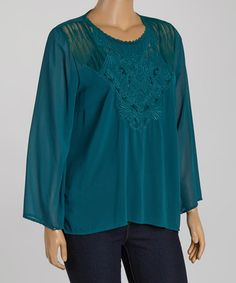 a5f690df9d1a67 Look at this  zulilyfind! Dark Teal Filigree Embroidered Swing Top - Plus  by Zenobia