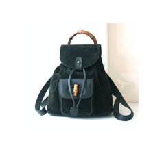 Auth Gucci Bamboo Black Suede Leather Backpack vintage handbag by hfvin on Etsy  #gucci #bamboo #black #suede #backpack #vintage #bag #hfvin