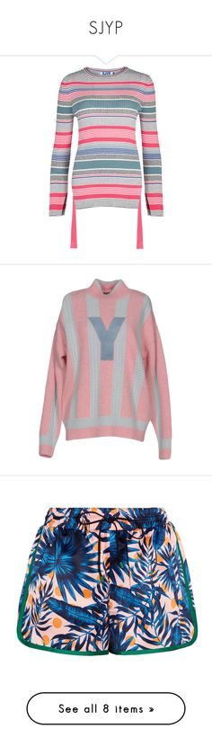 """""""SJYP"""" by fionariyadi98 ❤ liked on Polyvore featuring tops, sjyp, cut-out tops, cutout tops, white cut out top, white striped top, t-shirts, pink, cotton tees and pink jersey"""