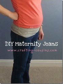 If you're having a hard time finding maternity jeans that fit the way you like, you can always make them yourself.  Nat from Crafty Cousins shows how to do it, using a regular pair of jeans and a bit of knit from an old t-shirt.  Get the tute.