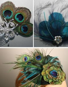 vintage wedding with feathers idea   Something Old, Something New: pretty as a peacock
