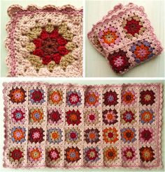 creJJtion: Granny Blanket. Great colors. Edging is the perfect compliment. Instruction for edging given.