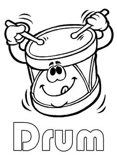 drum art for preschool | Drum coloring page printable - Under Construction