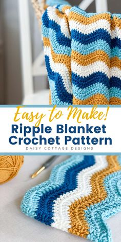 This classic ripple crochet blanket is quick to make and the free crochet pattern is easy to follow. Follow this tutorial and have a beautiful blanket by the weekend! Baby Afghans, Crochet Afghans, Crochet Blanket Patterns, Crochet Blankets, Crochet Ideas, Crochet Projects, Crochet Daisy, Crochet Yarn, Free Crochet
