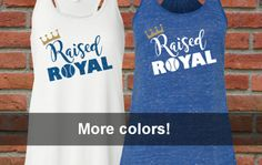Are you #RaisedRoyal? Show your pride for your Kansas City Royals in this cute flowy racerback tank with Raised Royal and our crown in glitter vinyl. You can substitute matte vinyl instead of glitter by request. Exclusive design by The Word Zone!  thewordzone.etsy.com