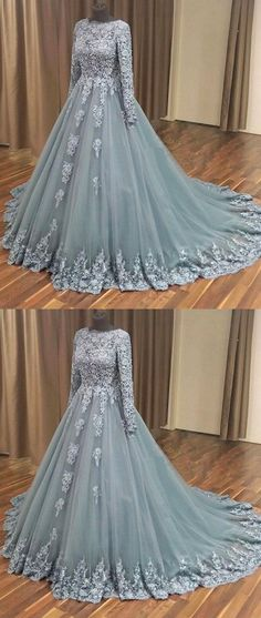 Outlet Great Evening Dresses 2019 Grey Applique Wedding Dress Long Sleeve Tulle Long Prom Dress A-Line Sweep Train Eveniing Dress Grey Evening Dresses, Grey Prom Dress, Prom Dresses With Sleeves, A Line Prom Dresses, Long Wedding Dresses, Quinceanera Dresses, Tulle Wedding, Dress Formal, Formal Prom