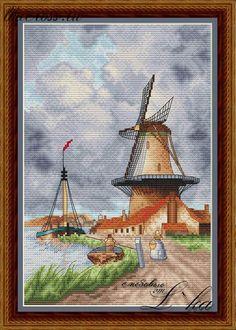 """Схема для вышивки крестом. Cross stitch pattern. """"Ветряная мельница"""""""