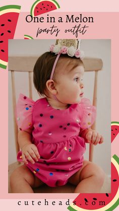 Infant Girl's Pink Confetti Tulle Bubble Romper – cuteheads Pink little girls dress for birthday party One in A Melon Party Outfit for Girls | First Birthday Dress Outfit Cute Girl Outfits, Little Girl Dresses, Party Outfits, Holiday Outfits, Girls Dresses, First Birthday Dresses, Baby First Birthday, Baby Girl Fashion, Kids Fashion