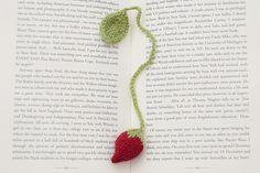 crochet strawberry bookmark