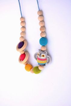 Rainbow Owl Nursing Necklace with Wooden Teething by sweetshtuchky