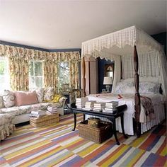 Photo Credit: Fred R. Conrad/ The New York Times. Sister Parish's bedroom. The rug is made from carpet samples.
