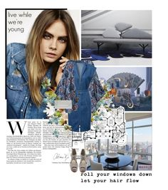 """Cara Delevingne: rock a denim dress"" by tracey-mason ❤ liked on Polyvore featuring Topshop, Chicnova Fashion, MICHAEL Michael Kors and Glint"
