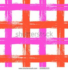 Vector seamless plaid pattern with crossing wide stripes in bright pink and orange colors can be used for web, print, wallpaper, spring summer fashion, fabric, textile, card background - stock vector