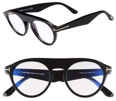 fc9367e499a Tom Ford Christopher 49mm Round Optical Glasses Blue Block