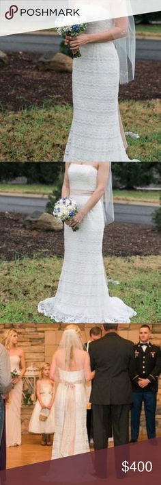 Davids Bridal Wedding Dress Gorgeous dress and way more comfortable than I would've ever thought a wedding dress could be. Only worn for MAYBE 2 hours tops before changing into my reception dress. Still in great condition. David's Bridal Dresses Wedding