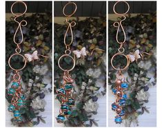 Glass Wind Chimes - Garden Decor - Wind Chimes - B Handmade Copper, Handmade Art, Butterfly Wind Chime, Dragonfly Garden Decor, Glass Wind Chimes, Metal Garden Art, Wine Bottle Crafts, Wine Bottles, Fused Glass Art