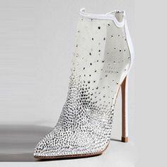 66cb6097686e cool Shoespie Rhinestone High Stiletto Heel White Boots Bootie Boots