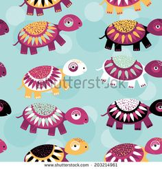 turtle Seamless pattern with funny cute animal on a blue background. Vector by EkaterinaP, via Shutterstock