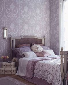 Loving the lilac damask wallpaper | Clutter for Home | Pinterest ...