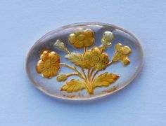 VINTAGE-FLORAL-FLOWER-INTAGLIO-GLASS-BIG-LARGE-OVAL-CABOCHON-CAB-27-X40mm-YELLOW